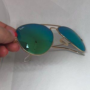 Authentic Ray-Ban Flash Green Aviator Sunglasses